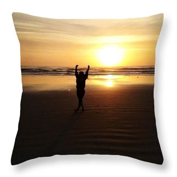 Happy By The Sea Throw Pillow by Kayla Cromer