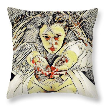 4448s-ab The Succubus Comes For You Erotica In The Style Of Kandinsky Throw Pillow