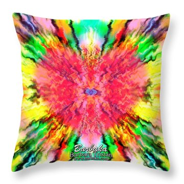 Throw Pillow featuring the mixed media 444 Loves Vibration by Barbara Tristan