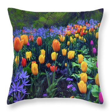 Procession Of Tulips Throw Pillow