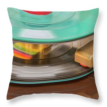 Throw Pillow featuring the photograph 45 Rpm Record In Play Mode by Gary Slawsky