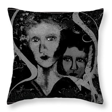 Throw Pillow featuring the digital art 450 - Get Off My Back 2017 by Irmgard Schoendorf Welch