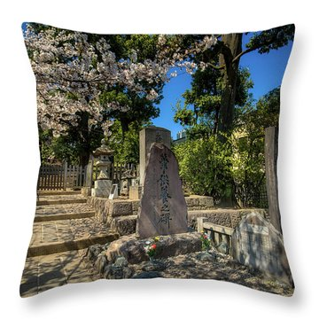 47 Samurai And Cherry Blossoms Throw Pillow