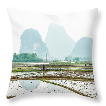 Throw Pillow featuring the photograph Karst Rural Scenery In Spring by Carl Ning