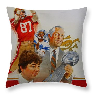 Throw Pillow featuring the painting 49rs Media Guide Cover 1982 by Cliff Spohn