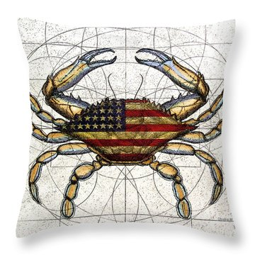 4th Of July Crab Throw Pillow