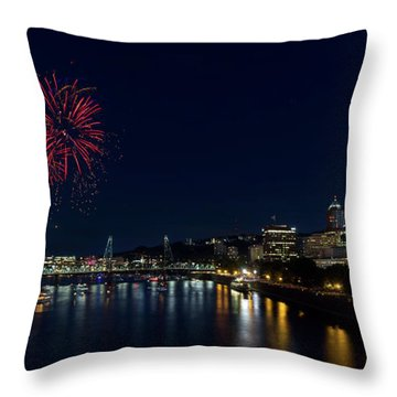 4th Of July Fireworks At Portland Waterfront 2016 Throw Pillow by David Gn