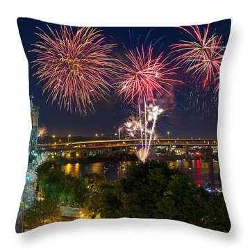 4th Of July Fireworks Throw Pillow by David Gn