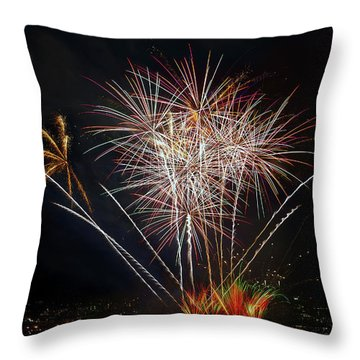 4th Of July Fireworks Display From The Barge Portland Oregon Throw Pillow by David Gn