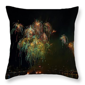 4th Of July Fireworks From The Barge Portland Oregon Throw Pillow by David Gn