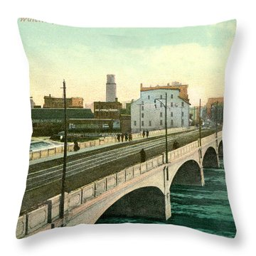 4th Street Bridge Waterloo Iowa Throw Pillow
