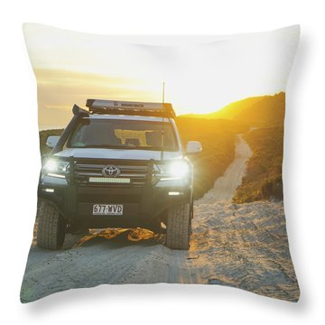 4wd Car Explores Sand Track In Early Morning Light Throw Pillow
