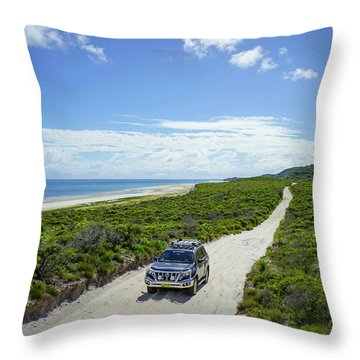4wd Car Exploring Remote Track On Sand Island Throw Pillow