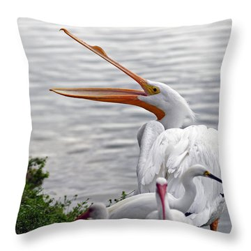 American White Pelican Throw Pillow