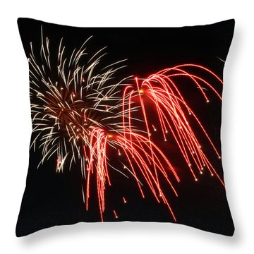 Throw Pillow featuring the photograph Astoria Park Fireworks by Jim Poulos