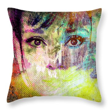 Audrey Hepburn Throw Pillow by Svelby Art