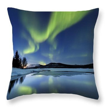 Aurora Borealis Over Sandvannet Lake Throw Pillow by Arild Heitmann