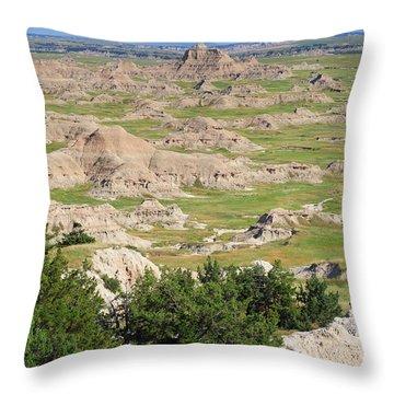 Badlands National Park South Dakota Throw Pillow by Louise Heusinkveld