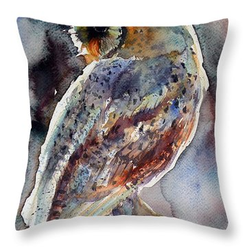 Barn Owl Throw Pillow by Kovacs Anna Brigitta