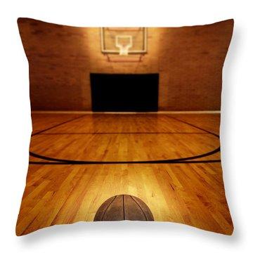 Basketball And Basketball Court Throw Pillow