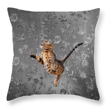 Bengal Cat Jumping Throw Pillow