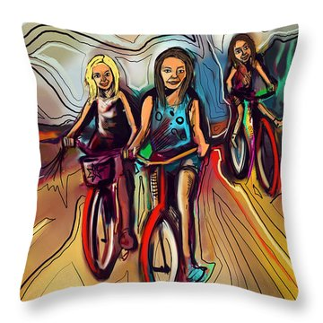 5 Bike Girls Throw Pillow