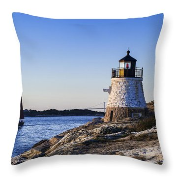 Castle Hill Lighthouse Throw Pillow by John Greim