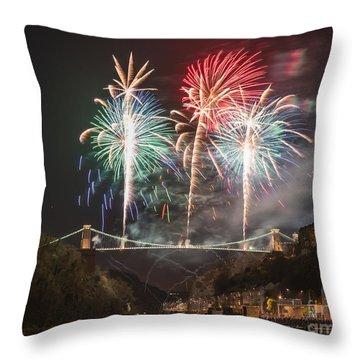 Clifton Suspension Bridge Fireworks Throw Pillow