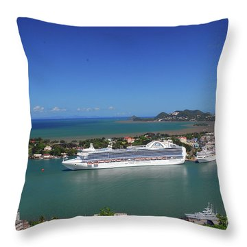 Throw Pillow featuring the photograph Cruise Ship In Port by Gary Wonning