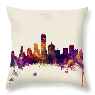Dallas Texas Skyline Throw Pillow by Michael Tompsett