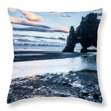 Dinosaur Rock Beach In Iceland Throw Pillow by Joe Belanger