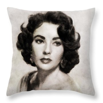 Elizabeth Taylor, Vintage Hollywood Legend Throw Pillow by John Springfield