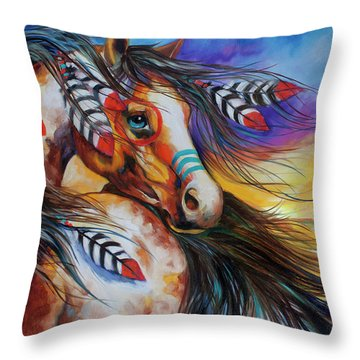 5 Feathers Indian War Horse Throw Pillow