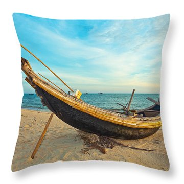 Fisherman Boat Throw Pillow by MotHaiBaPhoto Prints