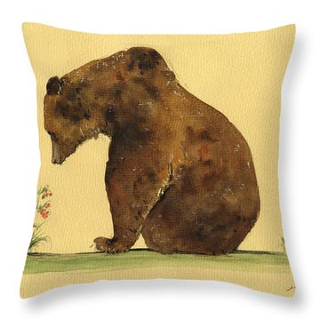 Grizzly Bear Watercolor Painting Throw Pillow by Juan  Bosco