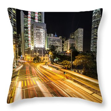 Hong Kong Night Rush Throw Pillow