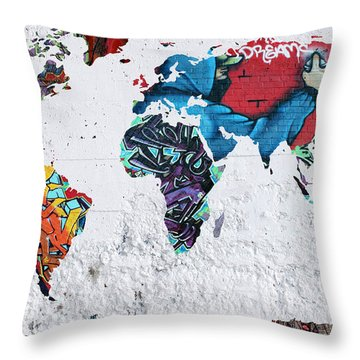 Map Of The World Throw Pillow by Mark Ashkenazi