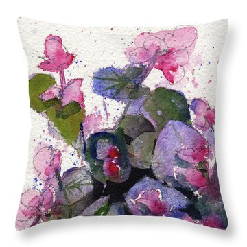 Throw Pillow featuring the painting My Annual Begonias by Kris Parins