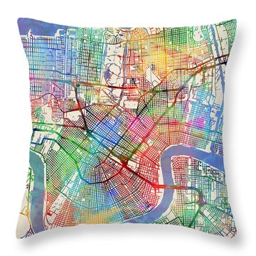 New Orleans Street Map Throw Pillow