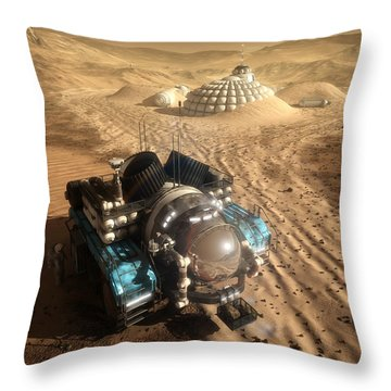 Throw Pillow featuring the digital art Mars Exploration Vehicle by Bryan Versteeg