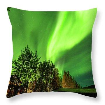 Northern Lights, Aurora Borealis At Kantishna Lodge In Denali National Park Throw Pillow
