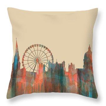 Nottingham England Skyline Throw Pillow by Marlene Watson