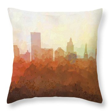 Throw Pillow featuring the digital art Providence Rhode Island Skyline by Marlene Watson