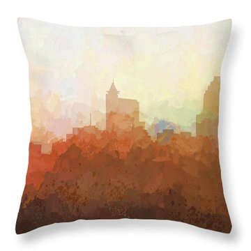 Throw Pillow featuring the digital art Raleigh North Carolina Skyline by Marlene Watson