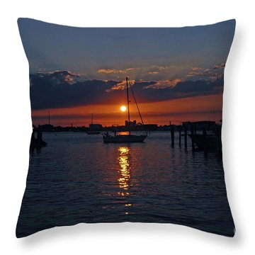 5- Sailfish Marina Sunset In Paradise Throw Pillow by Joseph Keane