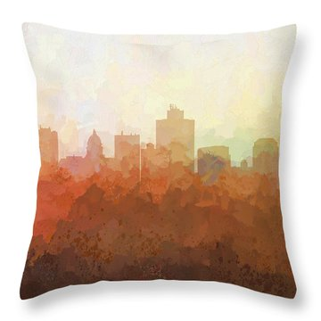 Throw Pillow featuring the digital art Salt Lake City Utah Skyline by Marlene Watson