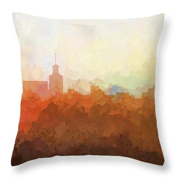 Throw Pillow featuring the digital art Santa Fe New Mexico Skyline by Marlene Watson
