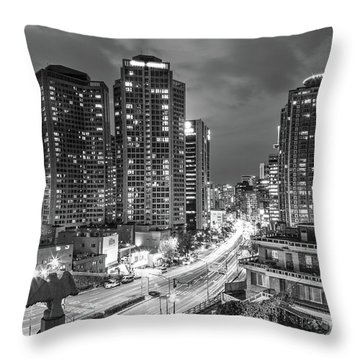 Seoul Night Rush Throw Pillow