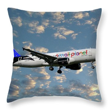 Small Planet Airlines Airbus A320-214 Throw Pillow