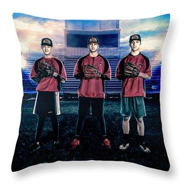 Throw Pillow featuring the digital art Southwest Aztecs Baseball Organization by Nicholas Grunas